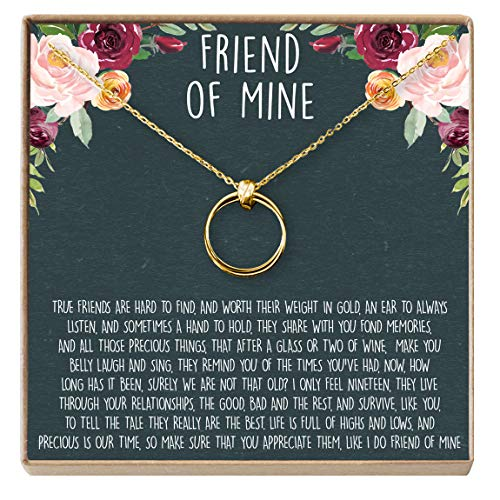 Linked Long Necklace - Dear Ava Necklace: BFF, Long Distance, Friends Forever, Friend, Jewelry, 2 Linked Circles (Gold-Plated-Brass, NA)