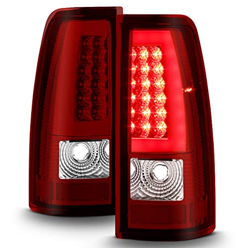 For Red Clear 1999-2002 Chevy Silerado 99-06 Sierra Pickup LED Tube Tail Lights Brake Lamp Driver+Passenger Side pair