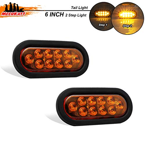 Meerkatt (Pack of 2) 6 Inch Oval Amber LED Side Marker 10 Diodes Sealed Clearance Lights Waterproof w/Grommet & Plug for SUV Truck Trailer Jeep Lorry Caravan Turn Signal Lamp 12v DC Universal UA12