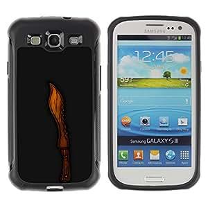 Be-Star único patrón Impacto Shock - Absorción y Anti-Arañazos Funda Carcasa Case Bumper Para SAMSUNG Galaxy S3 III / i9300 / i747 ( Cool Wood Knife Cut Black Carved )