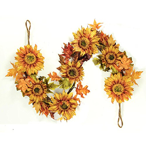 5-Autumn-Fall-Harvest-Sunflower-and-Leaves-Artificial-Silk-Floral-Garland-Unlit