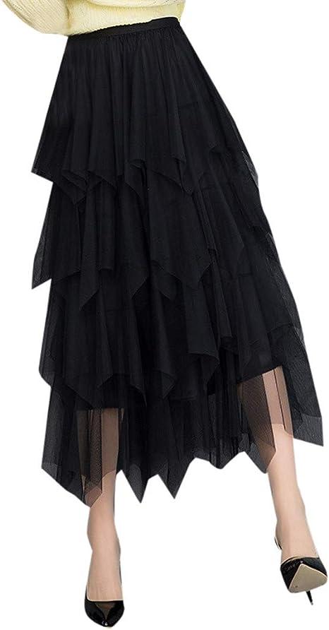 AOGOTO Falda Plisada de Tul de Cintura Alta para Mujer, cómoda ...