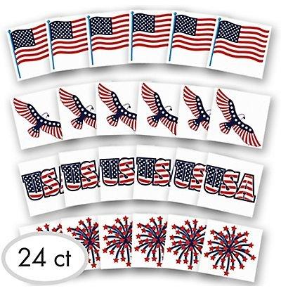 Patriotic American Flag Tattoos, 24 Count -