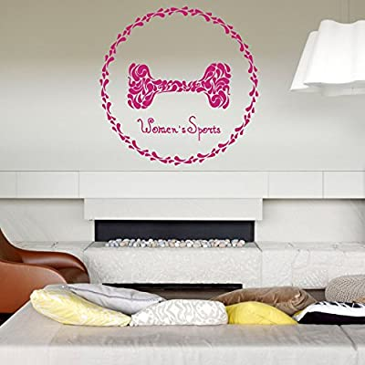 Wall Vinyl Sticker Bedroom Decal women sport barbell logo fitness gym art bo3208