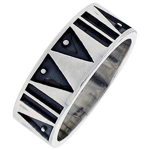 Sterling Silver Aztec Pattern Ring Southwestern Design Handmade 5/16 inch Wide, Size 7