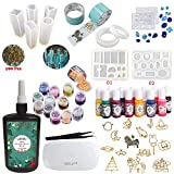 250ML Crystal Epoxy Resin UV Glue, 11Pcs Transparant Silicone Molds,17 Metal Jewelry with 2X 5 Meters Tape, 1 Pcs Portable UV LED Lamp with USB and Tweezer,13 Color Liquid Pigment, 12 Glitter Sequins