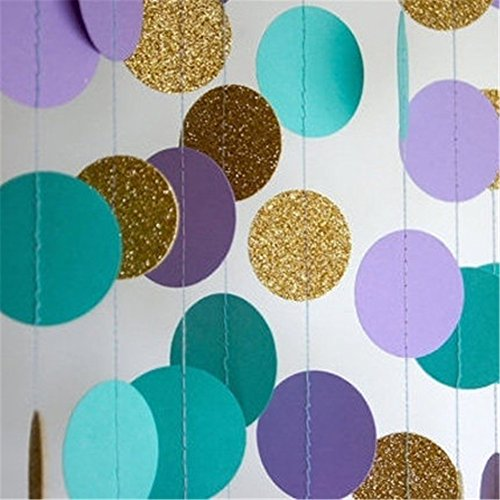 Purple and gold wedding shower decorations amazon hangnuo 5 pack colorful dot paper garland for wedding birthday anniversary party christmas girls background decoration lake bluelight purplegold large junglespirit Choice Image