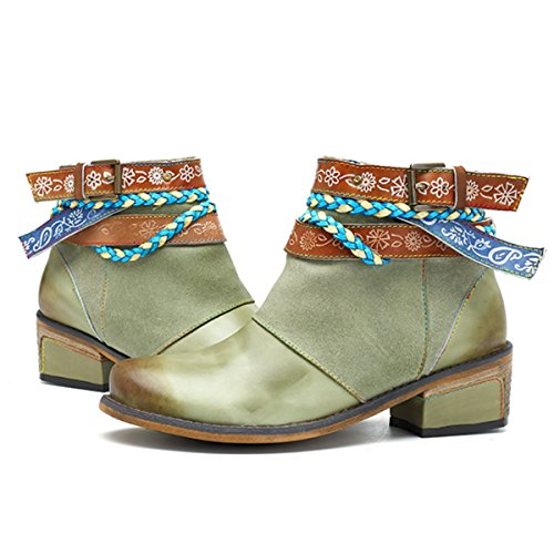 Splicing Zipper Socofy Buckle Block Leather Shoes Green Handmade Heel Strap Booties Ankle Side Women's Boots 4xgwXZxa
