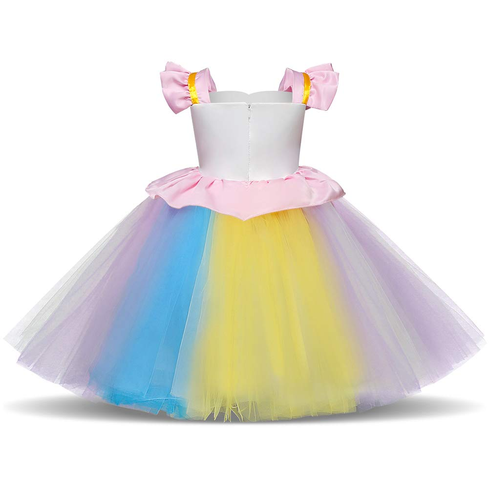 Amazon.com: Unicorn Princess Costume Halloween Flower Applique Rainbow Tutu Dress Fancy Dress Up Birthday Party Pageant Cosplay: Clothing