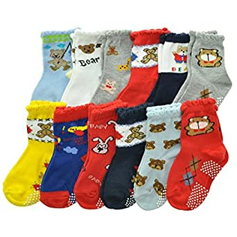 Angelina 12 Pairs Cotton Baby Socks with Non-Skid Bottom #0319_12-24 Boy