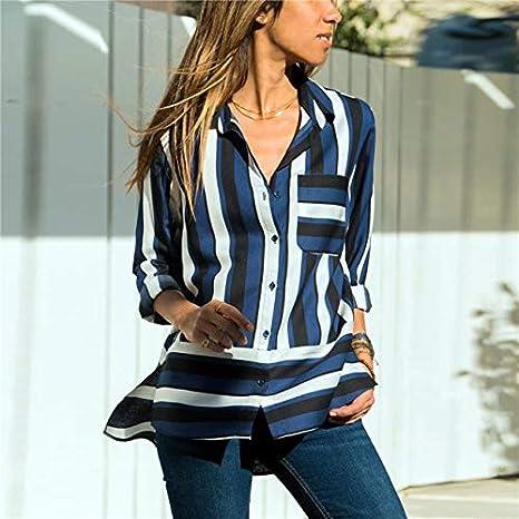 LFMDSY Blusas Mujer Blusa Gasa Moda Camisa Manga Larga con Cuello Vuelto Oficina Camisa a Rayas Tallas Grandes Tops Sueltos: Amazon.es: Deportes y aire libre