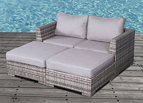 Cabana Furniture Outdoor - Cabana Collection Outdoor Wicker Patio Furniture Sectional Conversation Sofa Set for Backyard, Porch or Pool   No Assembly Required (Modular 2 Seater Daybed, Grey)