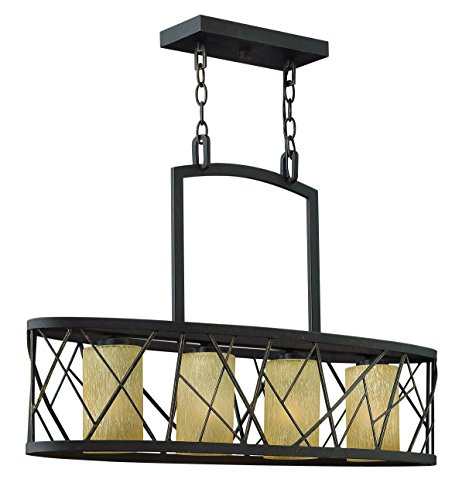 Fredrick Ramond FR41614ORB Four Light Distressed Amber Etched Glass Oil Rubbed Bronze Candle Chandelier