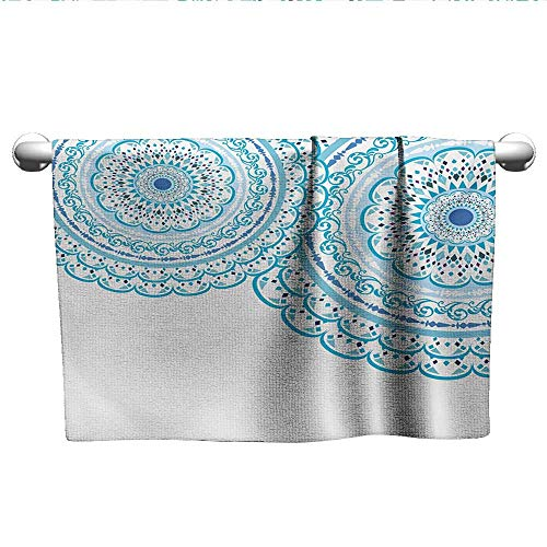 LilyDecorH Mandala,Personalized Towels Wedding Invitation Card Theme Lace Mandala and Place for Text Art Print Washcloths Sky Blue Pale Blue W 28