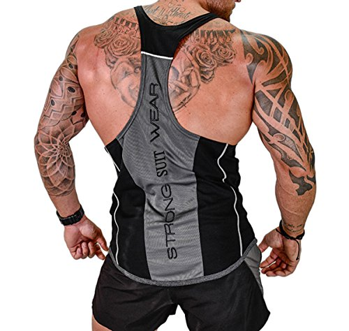 ICOOLTECH Men's Fitness Gym Muscle Cut Stringer Bodybuilding Workout Sleeveless Tank Top Shirts(US - Medium, Black)
