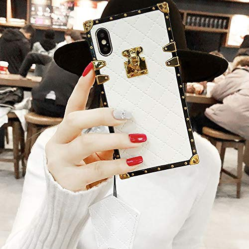 """Compatible for iPhone Xs Max 6.5"""" Case,BabeMall Elegant Diamond Luxury Metal Corner Square PU Leather Classic TPU Bumper Slim Anti-Scratch Case & Lanyard (Small Cube/White, for iPhone Xs Max 6.5"""")"""