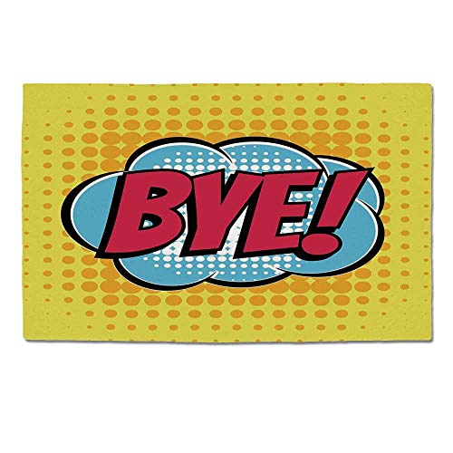 Bubble 647 - YOLIYANA Going Away Party Decorations Durable Door Mat,Comic Book Bubble Text Retro Style Bye Cartoon for Home Office,One Size