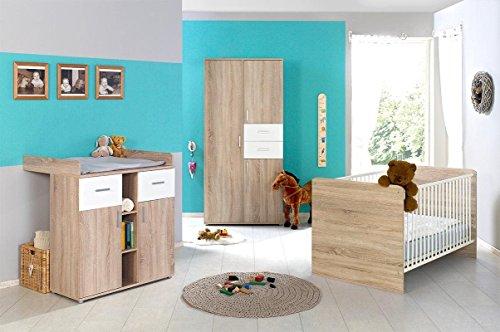 Babyzimmer Kinderzimmer komplett Set ELISA 1 in Eiche Sonoma Weiß, Komplettset mit Kleiderschrank Babybett Lattenrost Wickelkommode und Wickelaufsatz, Made in Germany