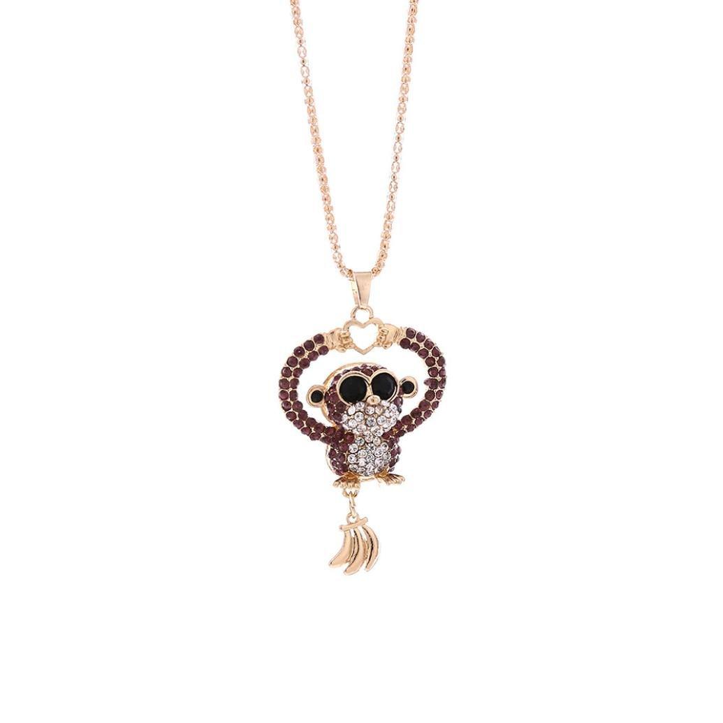 Clearance! Elogoog Fashionable Cute Mini Monkey Crystal Rhinestone Long Pendant Sweater Necklace Jewelry 75cm (Purple)