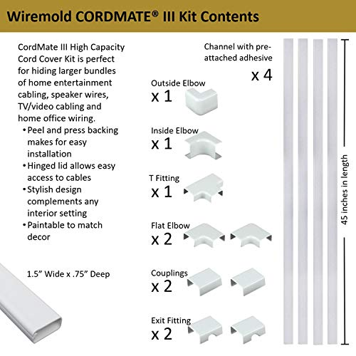 Wiremold Cable Management Kit, CordMate III, Cord Organizer and Hider, Cord Cover, Concealer, and Protector for Wall, High Capacity, C310