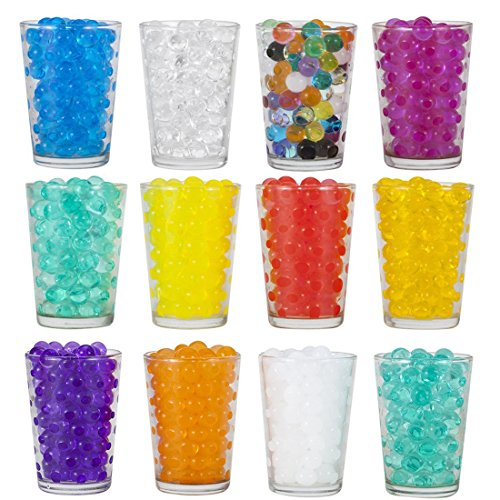 11 Pack Combo Decoration Vase Filler - Water Beads Gel - about 50 grams per pack - Wedding Decoration Vase Filler - Furniture Decorative Vase Filler (Marbles Games For Plastic)