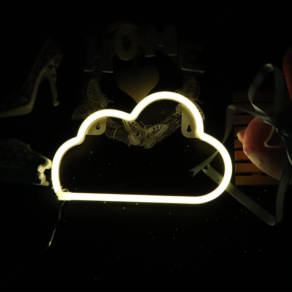 Neon Light Sign LED Cloud Shaped Night Light Wall Decor Light Operated By USB/Battery With Warm White Light for Birthday party,Kids Room, Living Room, Wedding Party Deco