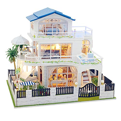 LSQR DIY Small House Families House Wooden Toy Miniature Impression Vancouver DIY House Villa Kids Toys Kids Gifts,Colorful ()