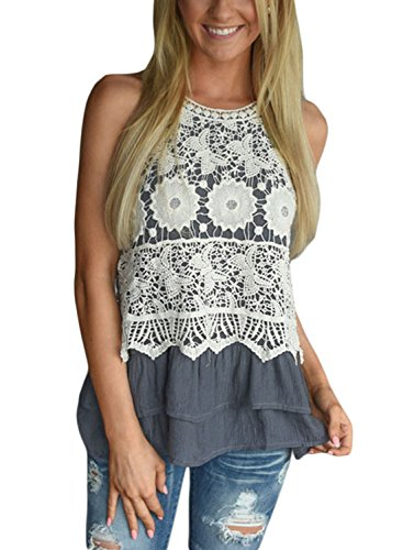 [Astylish Women Floral Lace Crochet Ruffle Layered Vest Sleeveless Tank Top Gray Large] (Floral Ruffle Top)