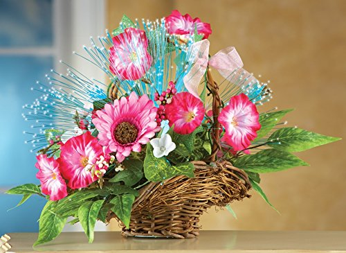 Mallory Collection - Fiber Optic Artificial Floral Arrangement in Basket Tabletop Decoration, Pink