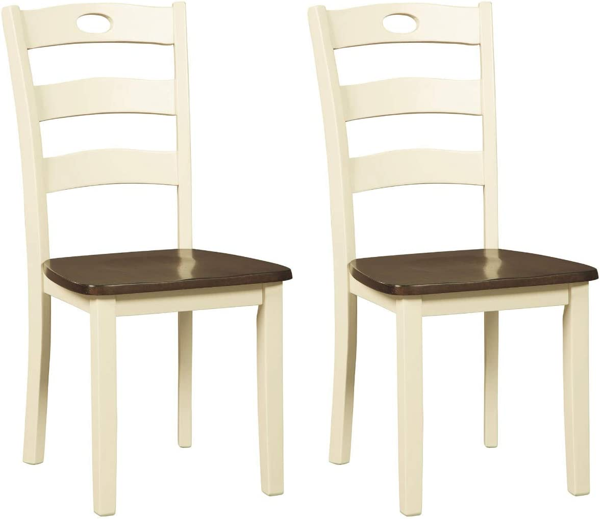 Amazon Com Signature Design By Ashley Woodanville Dining Room Chair Cream Brown Chairs