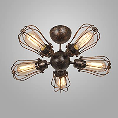 Electro_BP;Vintage Style Industrial Barn Metal Semi Flush Mount Light Max 300w with 5 Lights Rust Finish