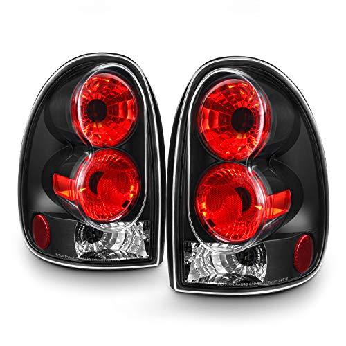(For 96-00 Dodge Caravan| Chrysler Town & Country Black Bezel Tail Lights Brake Lamps Pair Left+ Right)