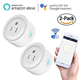 Smart Wifi Plug Outlet Compatible with Alexa, Technuv 2 Packs Mini Smart Wifi Socket Plug Timing Function No Hub Required Control Your Appliances from Anywhere for iOS Android Smartphones Tablets