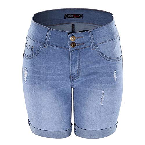 Million and beauty Women's Mid Waist Elastic Denim Short Jeans for Summer