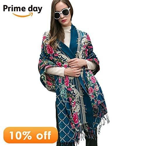 DANA XU Pure Wool Women Winter Large Scarf Pashmina Shawls and Wraps (Dark Blue) (Fine Wool Shawl)