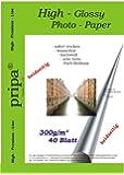 Pripa Lot de 40 feuilles de papier photo brillant des deux côtés à séchage immédiat imperméable DIN A4 pour imprimantes jet d'encre Blanc 300 g/m²