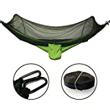 Shineshop Parachute Double Hammock with Mosquito Net,440 Pounds Capacity, Swing for Outdoor Backpacking Camping Trip Hiking Indoor Garden Yard Travel Beach.98.5''X47.3'' (Dark Green+Fruit Green)