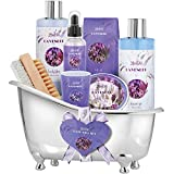 Relaxing Lavender Spa Bath Gift Baskets for Women-Girls, Christmas, Birthday, Bath and Body Set-Kit Includes Candle, Essential Oil, Body Scrub, Bath Salt, Body Lotion, Shower Gel and Body Scrub Brush