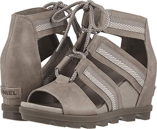 - SOREL Womens Joanie II Lace Webbing Open Toe Cut Out Wedge Heel Sandals - Ash Brown - 6