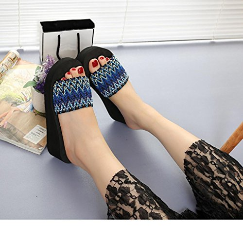 ec361cdad0595 Women's Open Peep Toe Summer Bohemian Flower Wedge Thick-Bottom Platform  Flip Flop Soft Flat Anti-Slip Slippers Sandals, Indoor & Outdoor (Blue,  US:7 ...