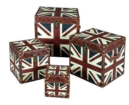 Set Of 4 SHABBY CHIC VINTAGE RETRO UNION JACK STORAGE TRUNKS CHESTS BOXES