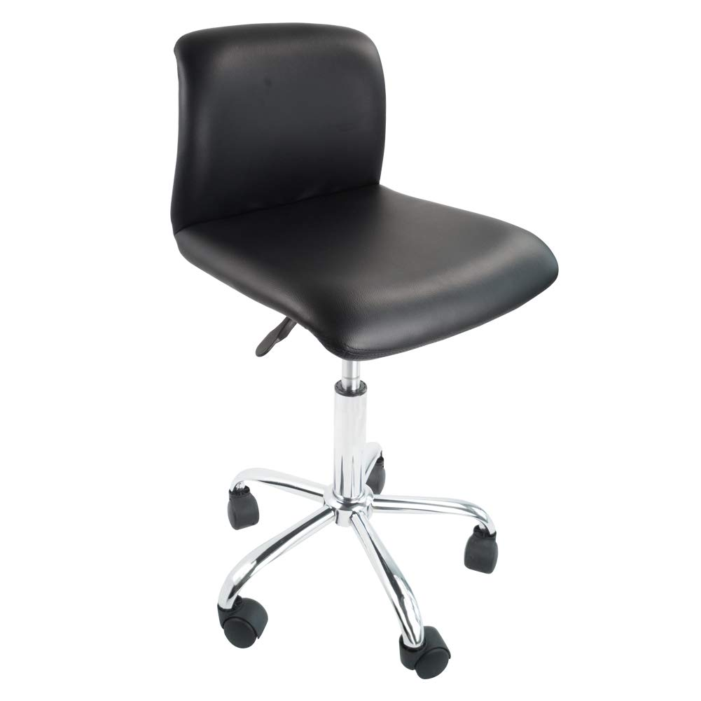 KKTONER PU Leather Low Back Office Chair Swivel Height Adjustable Computer Desk Chair Rolling Stool Black by KKTONER