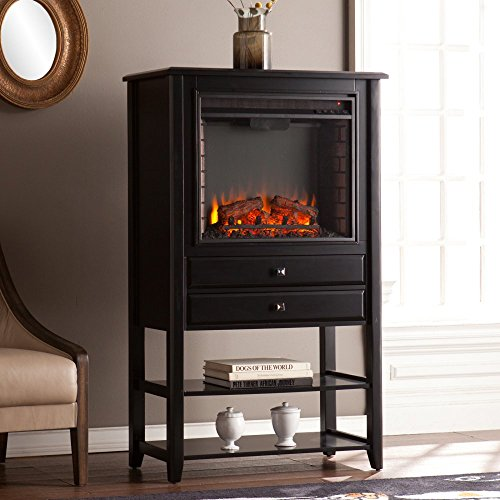 Southern Enterprises Vickery Corner Convertible Electric Fireplace Storage  Tower