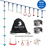 Ninja Slackline Monkey Bars Kit, 42'' Jungle Gym Obstacle Course for Kids and Adults + Climbing Rope, Warrior Training Obstacle Course Equipment, Trapeze Swing, Gymnastic Bar, Rope Ladder, Wheel