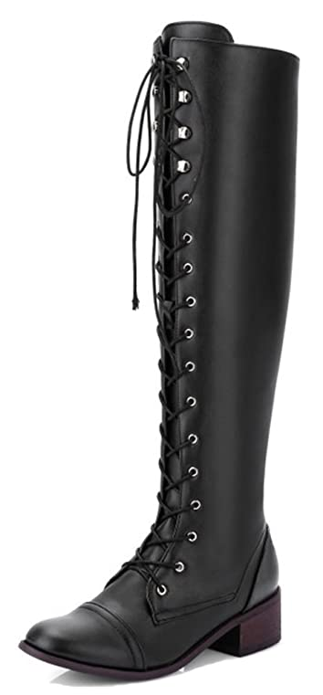 Women's Fashion Round Toe Dressy Inside Zip Up Buckle Strap Chunky Low Heel Knight Above The Knee Boots With Zipper