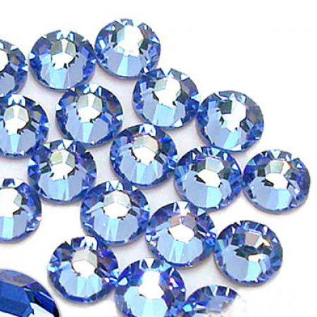 1440 pcs DMC Iron On Hotfix Hot Fix Glass Crystal Rhinestone 36 Colors and 4 Sizes (SS6/2mm, SS10/3mm, SS16/4mm, SS20/5mm) Available (Light Sapphire - LR405, -