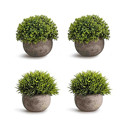 - CEWOR 4 Pack Artificial Mini Plants Plastic Mini Plants Topiary Shrubs Fake Plants for Bathroom,House Decorations (Green)