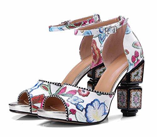 Cinturino Donna Buckle Bianca Printing 2018 Dimensioni Tacco Alla Estate Sandals Bohemian Caviglia Alto Peep Grandi Nuovo Toe Di Stile Pompe CwqIHO