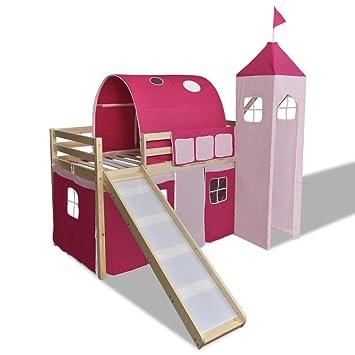 Agreable Lit Mezzanine Avec échelle Toboggan Rose Château Princesse