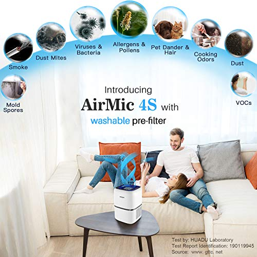Okaysou AirMic4S H13 HEPA Air Purifiers for Home Pets Hair Smokers with Washable Pre-Filter, 4 Customized H13 Higher Grade Filter, Ultra-Quiet Air Cleaner Eliminates 99.97% of Smoke, Dust, Pollen, Dust, Pet Dander, VOCs, 300 Sq Ft, 100% Ozone Free